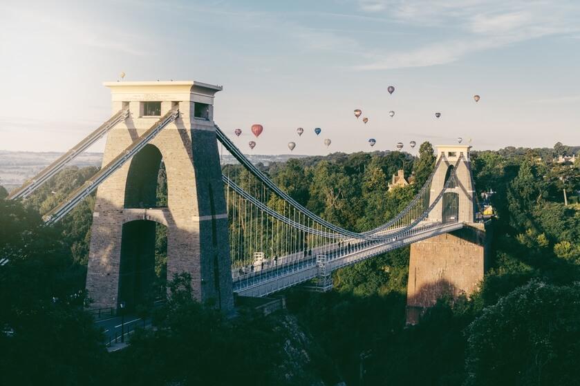 Landscape photo of Clifton suspension bridge during the balloon fiesta