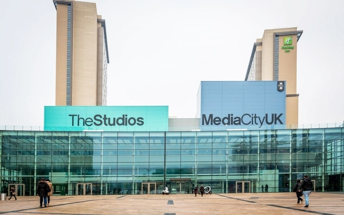 The MediaCityUK building, Manchester, water front