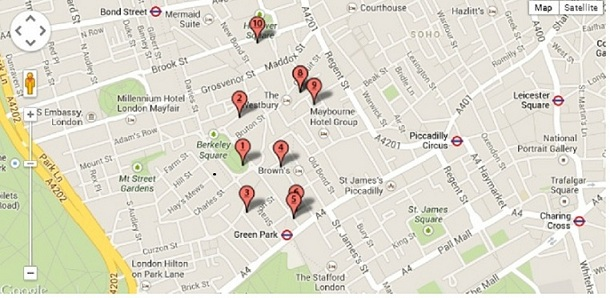 mayfair Map of serviced offices